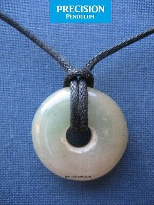 Green Agate Round Pendant with Black Cord Necklace Gemstone Crystal Tyre Donut