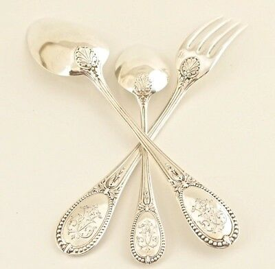 PUIFORCAT Antique French Sterling Silver Flatware Set Christening 3pc Spoon Fork