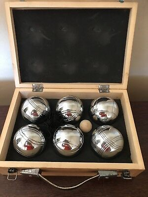 Deluxe Boule 6 Ball Set Boules Bocce with Wooden Case