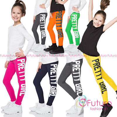 PRETTY GIRL Print Children Cotton Leggings Full Length Kids Pants All Ages DZPRT