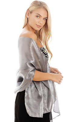 Silver Grey Silky Bridal Bridesmaid Wedding Prom Shawl Stole Wrap Pashmina
