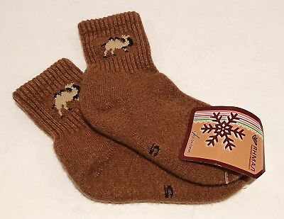 Kids Camel Wool Blend Socks Warm Brown For 8-9 years old NWT Made In Mongolia