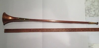 Vintage Antique Copper And Brass English Hunting Horn - 29""