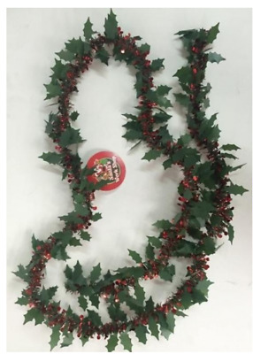 2M Holly Tinsel Garland Christmas Tree Decoration Green Red Free P&p In Stock