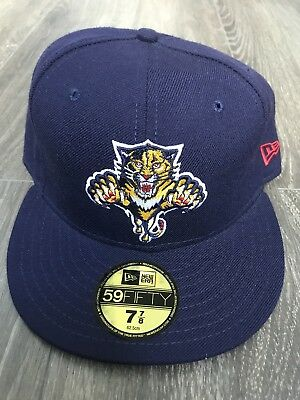 New Era NHL Florida Panthers Fitted Cap Size 7 7/8 Navy tonal