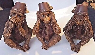 3 Monkeys Speak, Hear, See No Evil Wearing Hats And Vests By Young Inc.