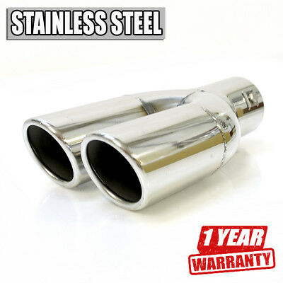 Sport Double Car Exhaust Tip Muffler Trim Pipe Chrome Stainless Steel Durable