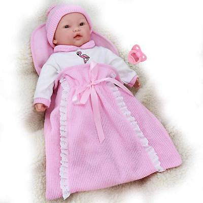 "18"" New Born Baby Doll in Pink Swaddle Blanket 16 Baby Sounds & Dummy"