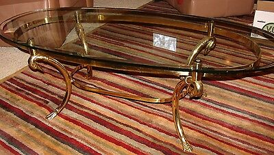 Vintage LaBarge Style Brass Swan Neck Oval Glass Top Coffee Table Italy