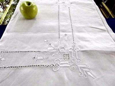 Antique Italian Chic Linen 70x102 Tablecloth Geometric Reticella Lace Embroider