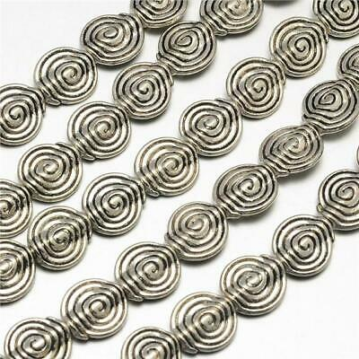 TOP QUALITY 20 TIBETAN SILVER FLAT ROUND VORTEX SPACER BEADS 11mm (TS12)