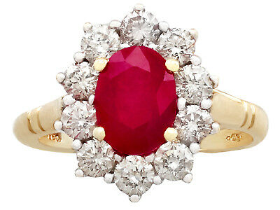 Vintage 1.88 ct Ruby and 0.70 ct Diamond, 18Carat Yellow Gold Cluster Ring