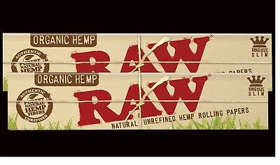2X RAW KING SIZE SLIM ORGANIC HEMP Natural Unrefined Cigarette Rolling Papers