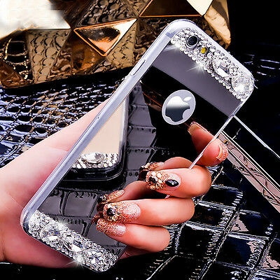 Luxury Bling Diamonds Soft TPU Silicone Mirror Case Cover For iPhone X 7 8 Plus