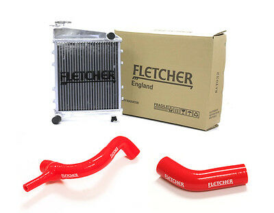 FLETCHER RADIATOR CLASSIC MINI 850cc 998cc WITH TOP & BOTTOM HOSES RED Y3270