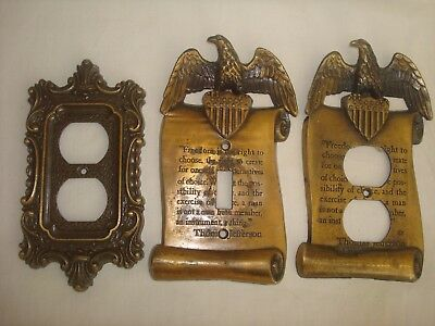 Light Switch & Outlet Cover Plate Brass Thomas Jefferson Eagle Freedom Vintage