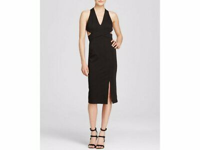 375 N Nicholas Black Ponti Wrap Halter Backless Cutout Sheath Dress