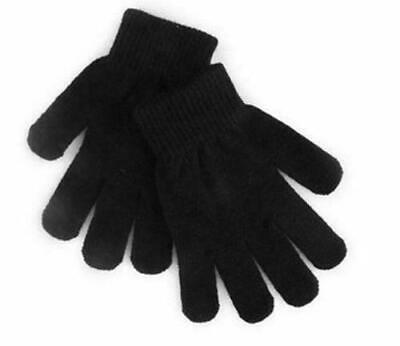 2 KIDS BOYS GIRLS WINTER WARM MAGIC GLOVES STRETCHY WOOL SCHOOL BLACK UNIVERSAl