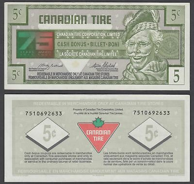Canada 5 Cents 1996 (XF) Banknote Canadian Tire 75 Years Anniversary