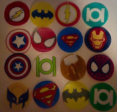 50 SUPER HERO Marvel DC comics edible paper,cupcake cookie toppers decorations