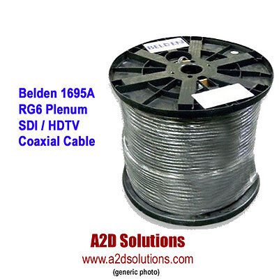 Belden 1695A - 1,000 feet - PLENUM HD/SDI RG6 Serial Digital Coaxial Cable BLACK