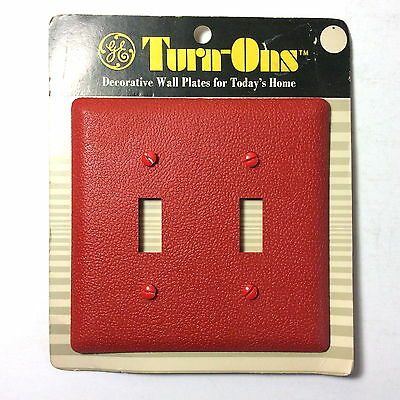 NOS VTG GE Turn-Ons RED Double Switch Wall Plate General Electric MOD MCM 1971