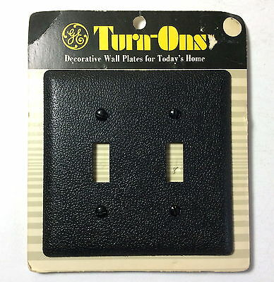 NOS VTG GE Turn-Ons BLACK Double Switch Wall Plate General Electric MOD MCM 1971