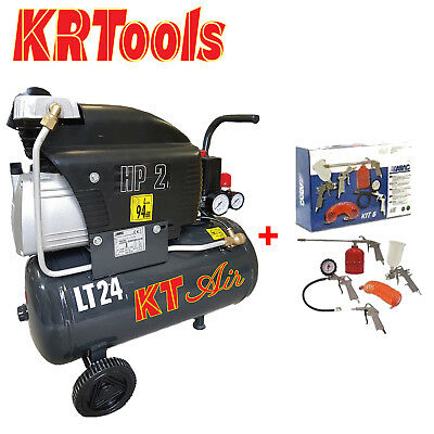 COMPRESSORE ARIA 24LT KTAIR 2HP 8BAR 1500WATT LUBRIFICATO OLIO +KIT tipo fiac