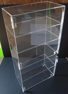 """Acrylic Counter Top Display Case 12"""" x 8"""" x 19""""Locking Cabinet Showcase Boxes"""