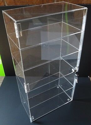 """Acrylic Counter Top Display Case 12"""" x 8"""" x 16""""Locking Cabinet Showcase Boxes"""