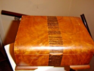 Vintage Art Deco Wooden Two Sectioned Cigarette Box