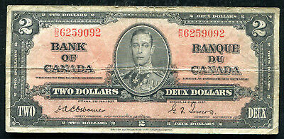 1937 $2 Two Dollars Bank Of Canada Banknote Osborne / Towers