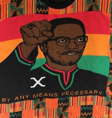 MalCoLm X vtg shirt by any means necessary quote dashiki 90s hip hop kente rare