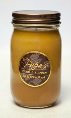 Papa's Candle Shoppe Apple Walnut Bread16oz Mason Jar, Highly Scented Soy Candle