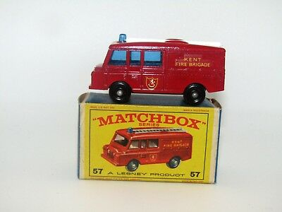 Lesney Matchbox No 57 Land Rover Fire Truck Near Mint in E Box