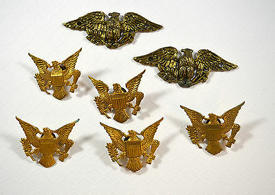 Vintage Military Eagle LOT of 5 Screw Back Pins 2 Brass? Eagles LOT of 7