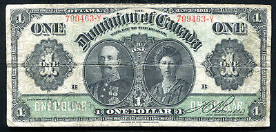 DC-18d-i 1911 $1 ONE DOLLAR DOMINION OF CANADA BANKNOTE