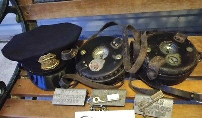 Lot of 2! Detex Guardsman Security Guard Watchmans Clock with Keys stations &hat