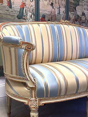 18th C. ANTIQUE FRENCH PAINTED WOOD LOUIS XV SETTEE contemporary fabric look