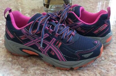 Asics Gel Venture 5 Women's Navy Blue Pink Running Trail Shoes Size 7.5 T5N8N