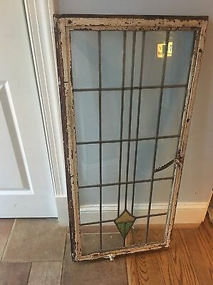 """Antique Stained Glass Window Orig Cast Iron Frame Architectural Salvage 42""""x20"""""""