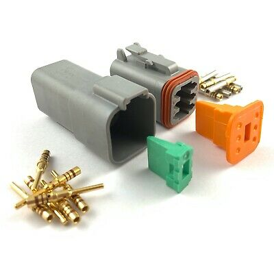 Deutsch DT 6-Pin Connector Kit 20-16 AWG Gold Solid Contacts DT04-6P DT06+6S