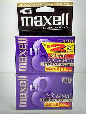 Blank Maxell Tapes Hi8 XR-Metal 120 Professional Quality 8mm Camcorder Videotape