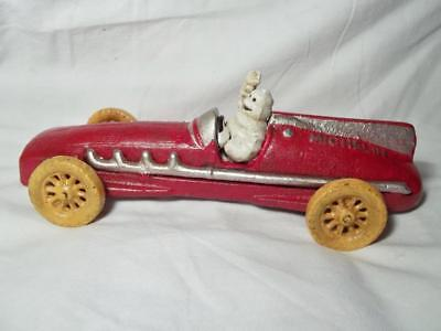 Heavy Cast Iron Michelin Man In Car Hubley 1934 Bibendum Red Racing Car Toy