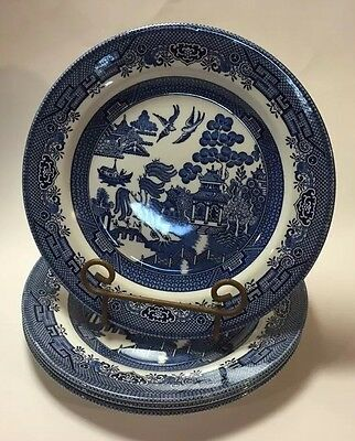 "Lot of 4 Churchill Blue Willow Dinner 10"" Plates Microwave Dishwasher Safe"