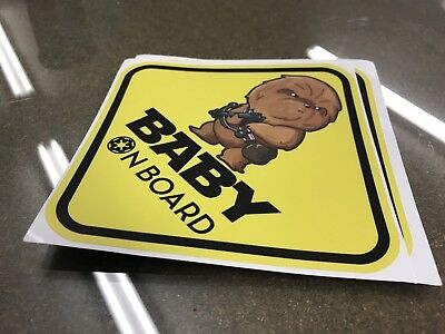 CHEWBACCA BABY ON BOARD CHIBI Warning WINDOW DECAL STICKER VINYL AWESOME CUTE