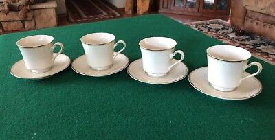 Four (4) Mikasa China Trousdale L2801 Cup & Saucer Sets Ivory With Gold Trim