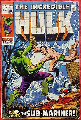 Incredible Hulk 118 Marvel Silver Age 1969 Hulk Vs Sub-Mariner