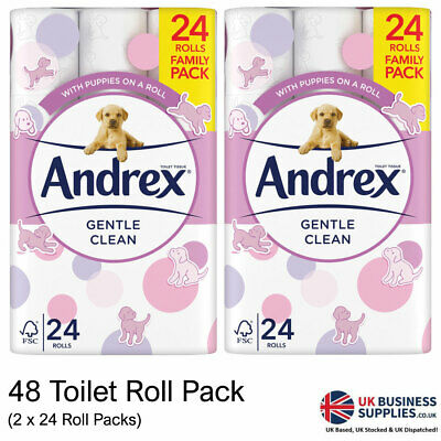 Andrex Gentle Clean, Puppies on a Roll Toilet Tissue Paper - 48 Rolls