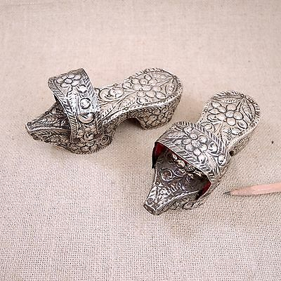 Ottoman Sterling Silver Clogs Child Turkish Bath House Shoes Vtg Repousse Nalins